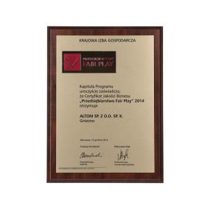 """Certyfikat Jakości Biznesu """"Przedsiębiorstwo Fair Play"""""""