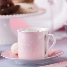 Filiżanka do kawy i herbaty ze spodkiem PINK 220 ML / 16 CM