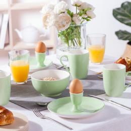 Śniadaniowy zestaw porcelany, Monokolor seledynowy