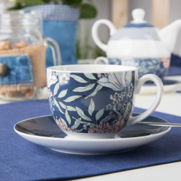 Filiżanka do kawy i herbaty ze spodkiem porcelanowa Altom Design Flower Jeans 200 ml granatowa