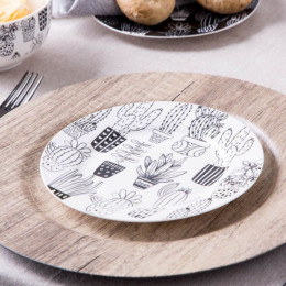 Talerz deserowy porcelanowy Altom Design Cactus White 19 cm