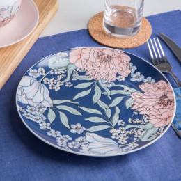 Talerzyk deserowy porcelanowy Altom Design Flower Jeans 20 cm granatowy