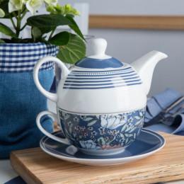 Zestaw do herbaty- czajniczek i filiżanka tea for one Altom Design Flower Jeans granatowy