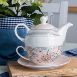 Zestaw do herbaty- czajniczek i filiżanka tea for one Altom Design Flower Jeans morelowy