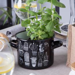 Garnek emaliowany na gaz i indukcję Silesia Rybnik Cactus Black 1,65 L
