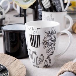 Kubek do kawy i herbaty porcelanowy Altom Design Cactus White 300 ml