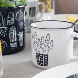 Kubek porcelanowy Altom Design Cactus White 330 ml