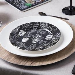 Talerz deserowy porcelanowy Altom Design Cactus Black 19 cm