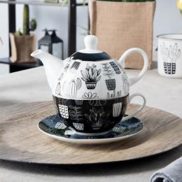 Zestaw do herbaty tea for one Altom Design Cactus Black and White