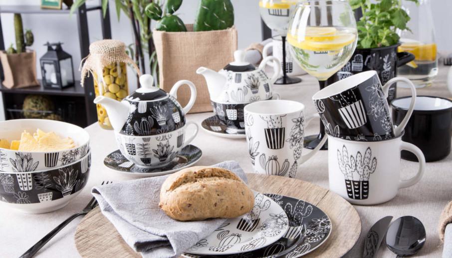 Zestaw porcelany Altom Design Cactus Black&White
