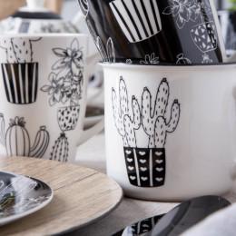 Zestaw śniadaniowy dla 6 osób porcelana Altom Design Cactus Black&White