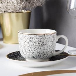 Duża filiżanka jumbo do herbaty/kawy ze spodkiem porcelanowa Altom Design Granit 430 ml biało-czarna