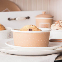 Kokilka porcelanowa/ małe naczynie do zapiekania ramekin Altom Design Happy Home 12,5 cm okrągła, beżowa w kropki