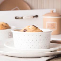 Kokilka porcelanowa/ małe naczynie do zapiekania ramekin Altom Design Happy Home 12,5 cm okrągła, kremowa w kropki