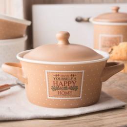 Kokilka z pokrywą/naczynie do zapiekania ramekin porcelana Altom Design Happy Home 13 cm beżowa w kropki