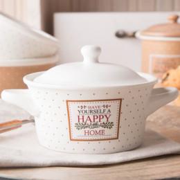 Kokilka z pokrywą/naczynie do zapiekania ramekin porcelana Altom Design Happy Home 13 cm kremowe w kropki