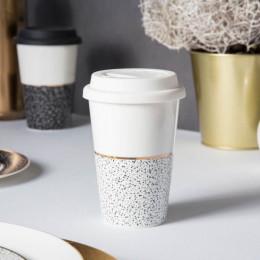 Kubek porcelanowy z pokrywa silikonową Altom Design Granit 340 ml biały
