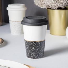 Kubek porcelanowy z pokrywą silikonową Altom Design Granit 340 ml czarny