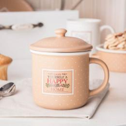 Kubek z zaparzaczem i pokrywą do herbaty i ziół porcelanowy, sitko stalowe Altom Design Happy Home 3400 ml beżowy w kropki
