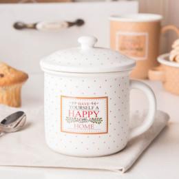 Kubek z zaparzaczem i pokrywą do herbaty i ziół porcelanowy, sitko stalowe Altom Design Happy Home 3400 ml kremowy w kropki