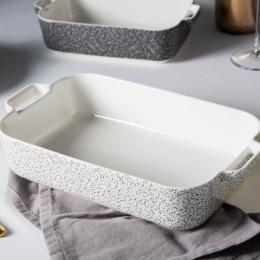 Naczynie do zapiekania porcelanowe Altom Design Granit 24 cm prostokątne białe