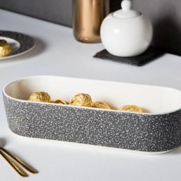 Naczynie do zapiekania porcelanowe Altom Design Granit 26 cm owalne czarne
