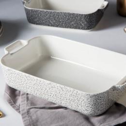 Naczynie do zapiekania porcelanowe Altom Design Granit 30 cm prostokątne białe