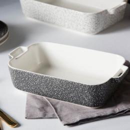 Naczynie do zapiekania porcelanowe Altom Design Granit 30 cm prostokątne czarne