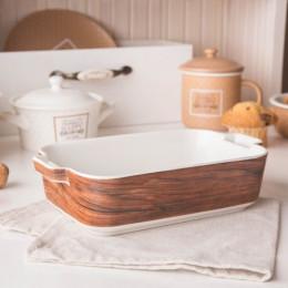Naczynie do zapiekania porcelanowe Altom Design Happy Home 24 cm prostokątne, dekoracja drewno