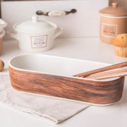 Naczynie do zapiekania porcelanowe Altom Design Happy Home 26 cm owalne, dekoracja drewno