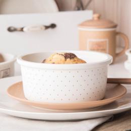 Naczynie do zapiekania ramekin-porcelana Altom Design Happy Home 15 cm okrągłe kremowe w kropki