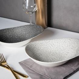 Salaterka/miska porcelanowa nieregularna Altom Design Granit czarna/ biała