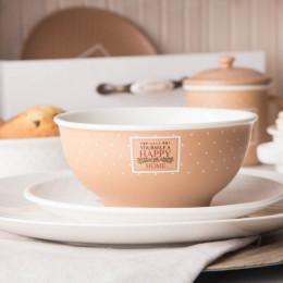 Salaterka/miska porcelanowa Altom Design Happy Home 14 cm beżowa w kropki