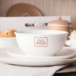 Salaterka/miska porcelanowa Altom Design Happy Home 14 cm kremowa w kropki