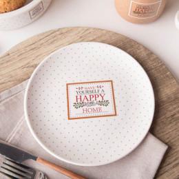 Talerz deserowy porcelana Altom Design Happy Home 19 cm kremowy w kropki