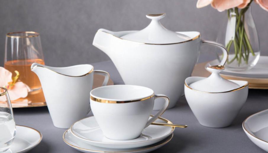 Zestaw kawowy dla 6 osób porcelana MariaPaula Moderna Gold ze złotym zdobieniem 21 elementów