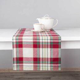 Bieżnik na stół bawełniany świąteczny Altom Design Victoria Red dekoracja kratka 40×140 cm