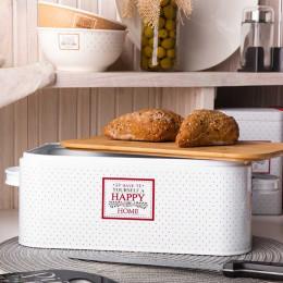 Chlebak pojemnik na chleb i pieczywo metalowy z pokrywą bambusową Altom Design Victoria Home