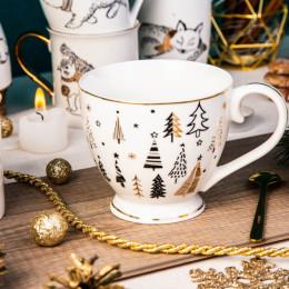 Filiżanka do kawy o herbaty duża,filiżanka jumbo porcelanowa święta Boże Narodzenie Altom Design Nordic Forest choinki 400 ml