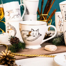 Filiżanka do kawy o herbaty duża,filiżanka jumbo porcelanowa święta Boże Narodzenie Altom Design Nordic Forest lis 400 ml