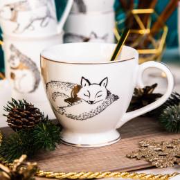 Filiżanka do kawy i herbaty duża filiżanka jumbo porcelanowa święta Boże Narodzenie Altom Design Nordic Forest lis 400 ml