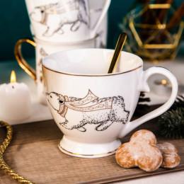 Filiżanka do kawy o herbaty duża,filiżanka jumbo porcelanowa święta Boże Narodzenie Altom Design Nordic Forest miś 400 ml