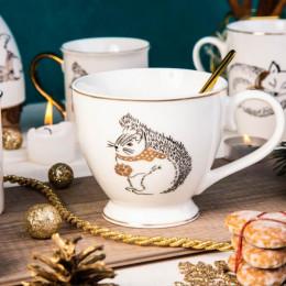 Filiżanka do kawy o herbaty duża, filiżanka jumbo porcelanowa święta Boże Narodzenie Altom Design Nordic Forest wiewiórka 400 ml