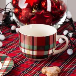 Filiżanka do kawy i herbaty duża filiżanka jumbo porcelanowa ze spodkiem święta Boże Narodzenie Altom Design Victoria Red 400 ml