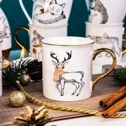 Kubek porcelanowy święta Boże Narodzenie Altom Design Nordic Forest Złote Ucho Renifer 300 ml