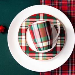 Kubek porcelanowy świąteczny Boże Narodzenie Altom Design Victoria Red dekoracja kratka 300 ml