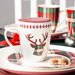 Kubek porcelanowy świąteczny z zaparzaczem i pokrywą święta Boże Narodzenie Altom Design Victoria Red 300 ml
