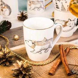 Kubek porcelanowy świta Boże Narodzenie Altom Design Nordic Forest niedzwiedz