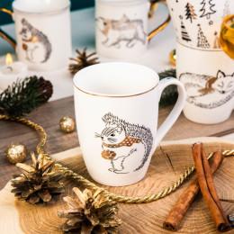 Kubek porcelanowy święta Boże Narodzenie Altom Design Nordic Forest wiewiórka