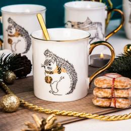 Kubek porcelanowy święta Boże Narodzenie Altom Design Nordic Forest złote ucho wiewiórka 300 ml